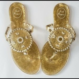 Jack Rogers Womens Gold Metallic Thong Sandals 10